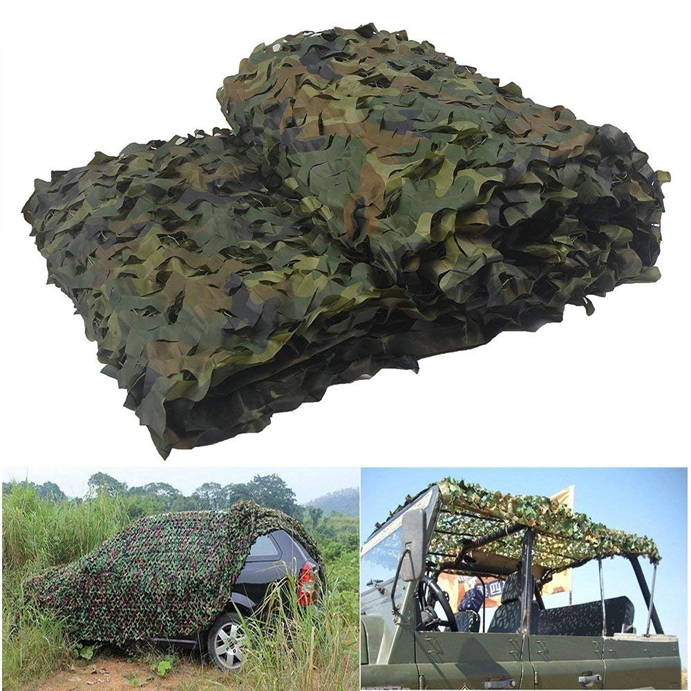 elecfan Woodland Camouflage Netting 13 ft x 16.4 ft, Outdoor Camo Netting Military, Camping Hunting Shooting Blind Sunscreen Camo Net Watching Hide Party Decorations
