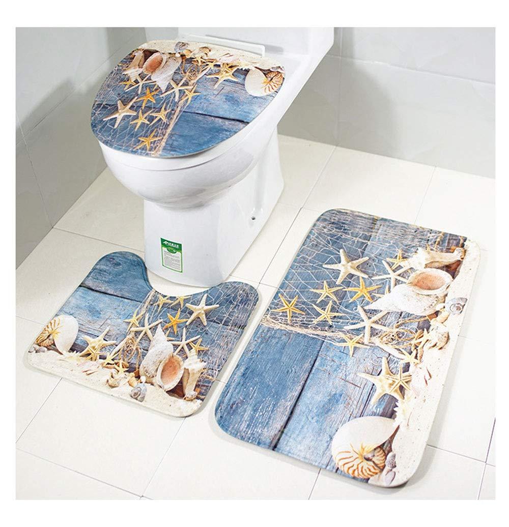 Lightlamp Toilet seat Three-Piece Bathroom mat 4575cm+4540cm+4040cm (Color : Wood Board Conch) by Lightlamp (Image #1)