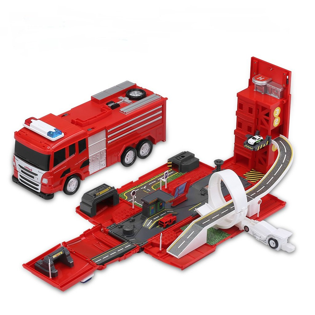 Virhuck Tracks Car Multi-Functional Transform Truck with Sound and Light Effect, Fire Engine Unfold to Be A DIY Car Vehicle City, Including Die-Cast Cars, Tracks, Building, Ejection Track Cars Toys Fictional & Fantasy Characters