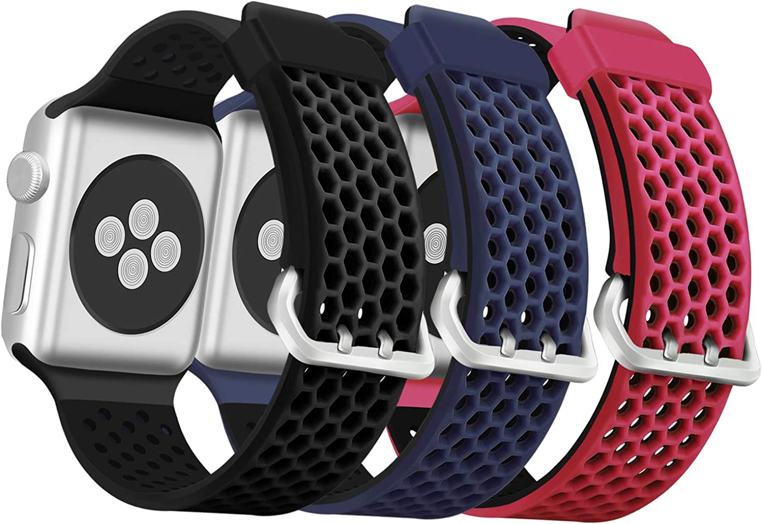 ESeekGo 3-Pack Compatible with Apple Watch Band Series 44mm Series 5 Series 6/SE Series 4, Compatible with Apple Watch Sport Band 42mm Series 3 38mm, Soft Silicone Bands for iWatch Series 2 1