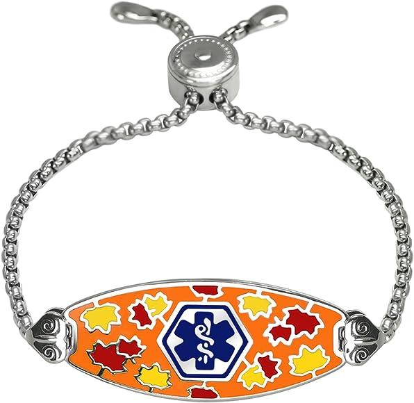 Deep Custom Laser Engraved Serene Maple Medical Alert Bracelet -Easy-on  Stainless-Deep Blue