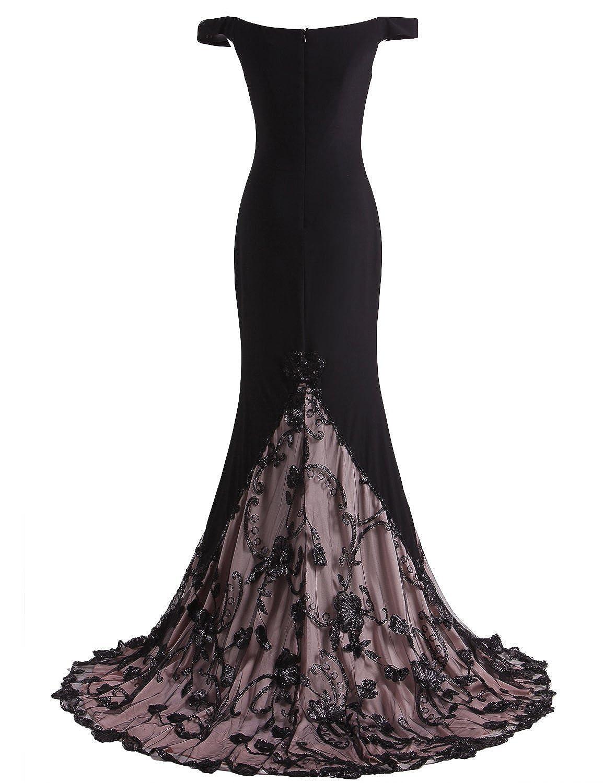 305b5d4cd04 Miss Chics Maxi robe de soirée en dentelle Mermaid Trailing partie Robes  Black Women Taille 38  Amazon.fr  Vêtements et accessoires