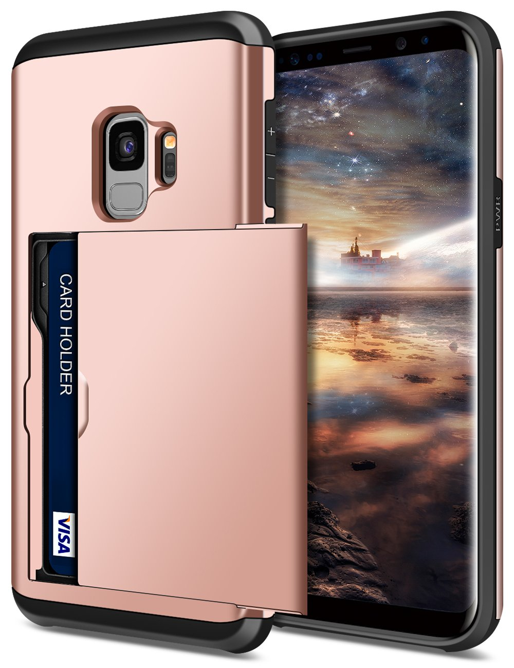 SAMONPOW Wallet Cover for Galaxy S9 Case Hybrid S9 Wallet Case Card Holder Shell Heavy Duty Protection Shockproof Anti Scratch Soft Rubber Bumper Cover Case for Samsung Galaxy S9 Rose Gold