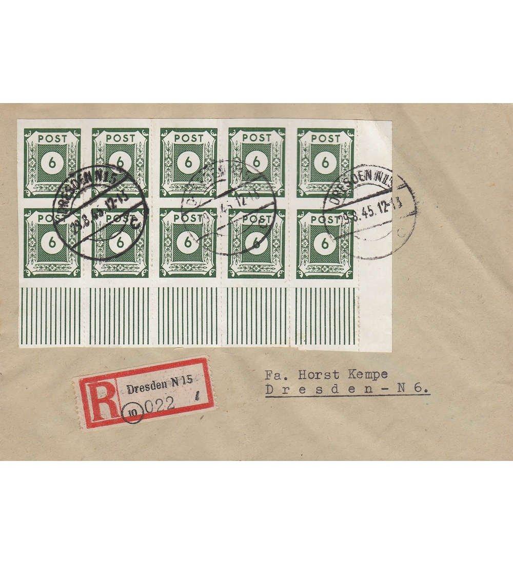 Goldhahn SBZ Nr. 43 B I a Uw auf Brief 10-Fach Frankatur geprüft und signiert Ströh Briefmarken für Sammler