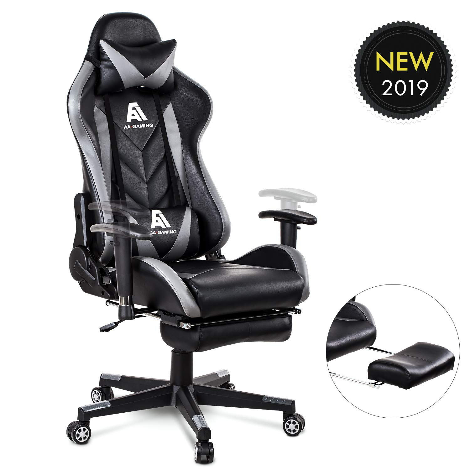 AA Products Gaming Chair High Back Ergonomic Computer Racing Chair Adjustable Office Chair with Footrest, Lumbar Support Swivel Chair - Grey by AA Products Inc.