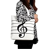 HOODDEAL Women's Girls' Music Symbols Print Canvas Tote Shopping Handbags Shoulder Bags,White