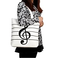 HOODDEAL Women's Girls' Music Symbols Print Canvas Tote Shopping Handbags Shoulder Bags (White)