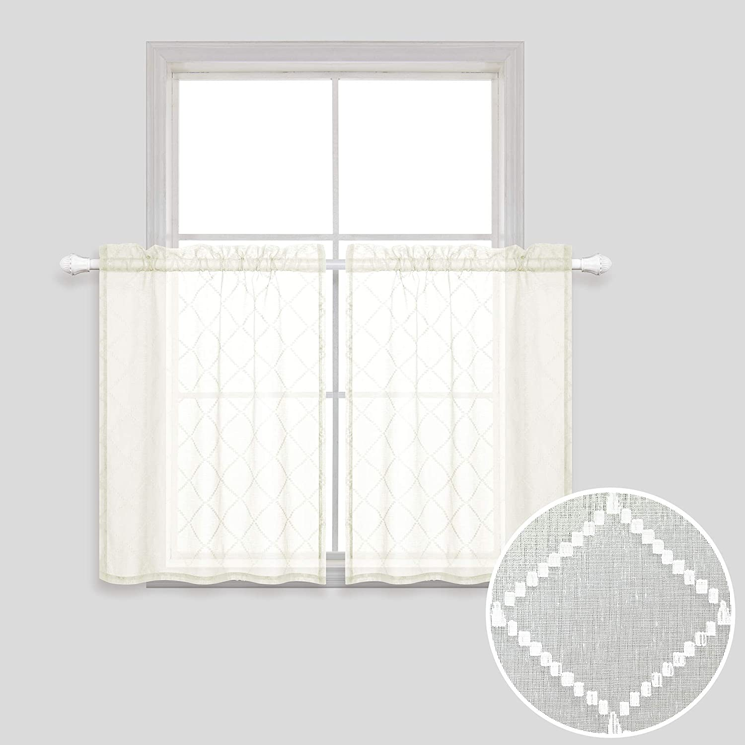 30 Inch Curtains for Kitchen Windows Set of 2 Pack Cafe Curtain Tiers Sheer Cream Beige Short Curtains for Small Windows 30x30 Inch Length