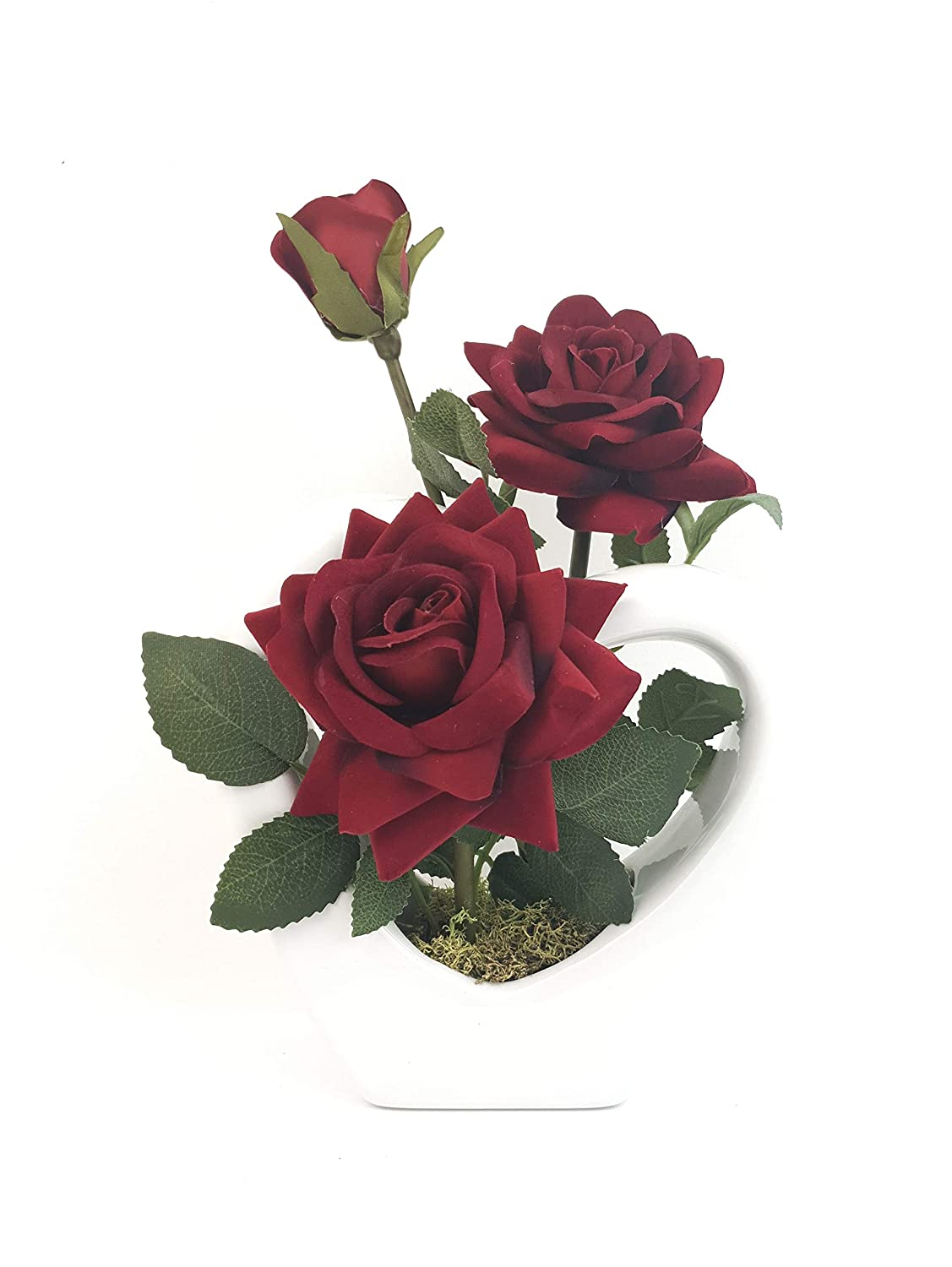 SIMPLY GIFT SOLUTIONS LTD ARTIFICIAL SILK SUPREME OPEN ROSE IN WHITE HEART SHAPE CERAMIC VASE 16CM, VALENTINES, GIFTS