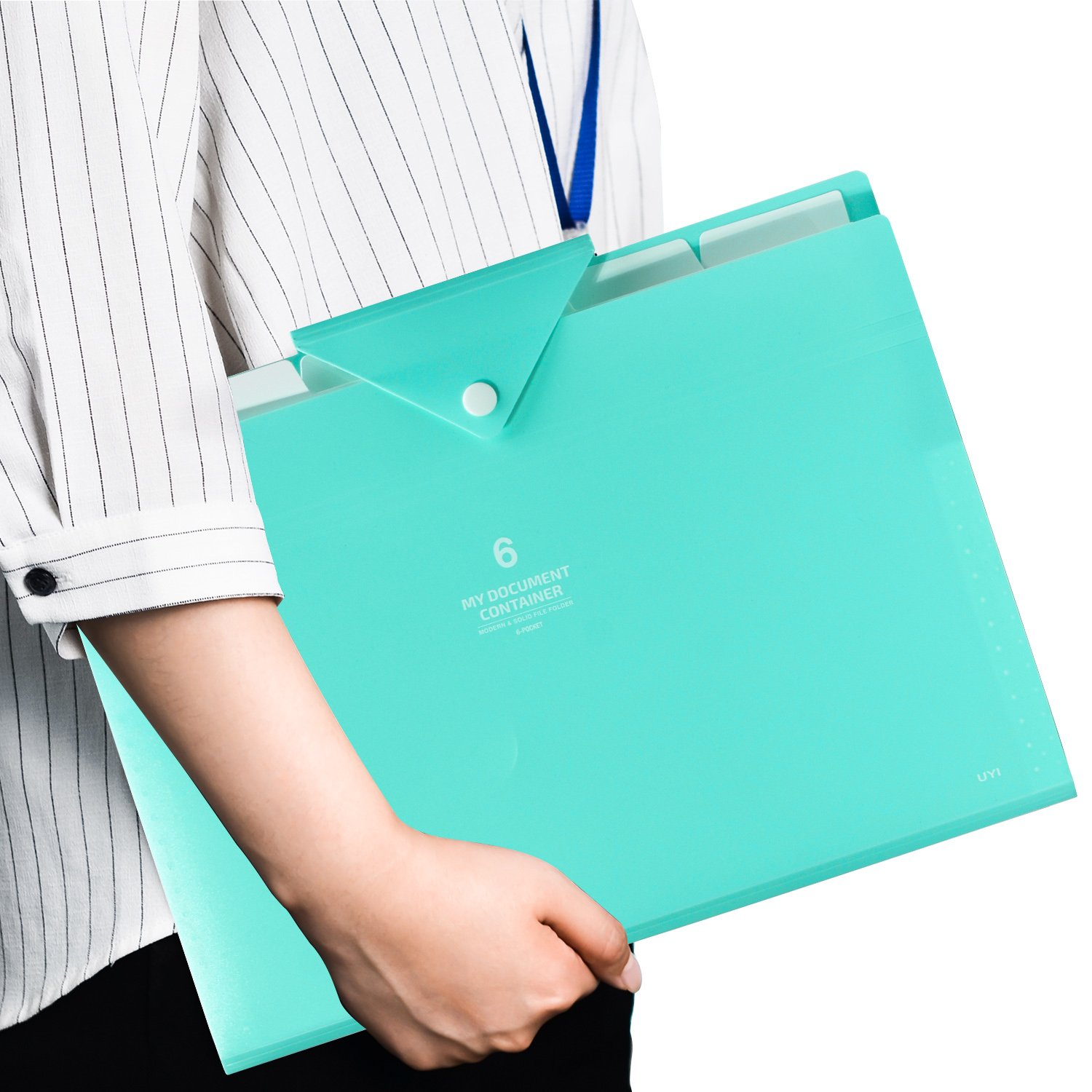 FHEAL File Folders Plastic 6 Pockets File A4 Letter Size Expanding File Folder with Snap Button Love Cute Documents Paper Organizer Accordion Folder for Student or Office Worker Macaroon Green