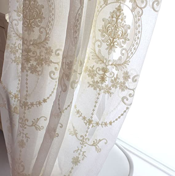 A panel Baroque Embroidery Voile white Window lace Curtains eyele 220 240