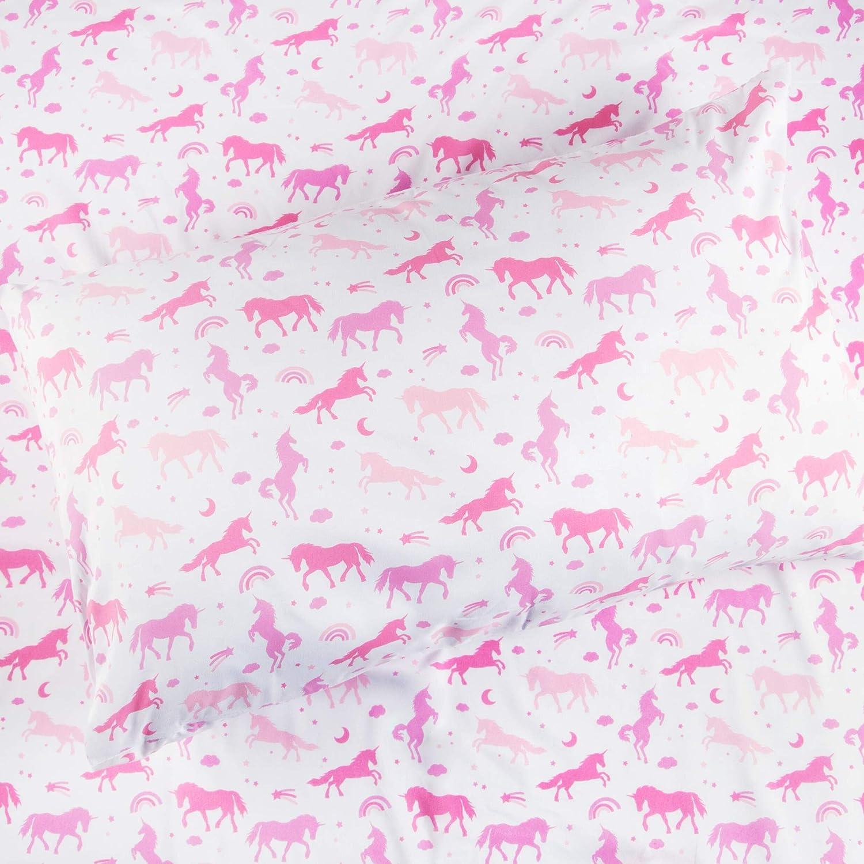 Full Size Kids Rule 4pc Unicorn Sheet Set Pink /& Purple