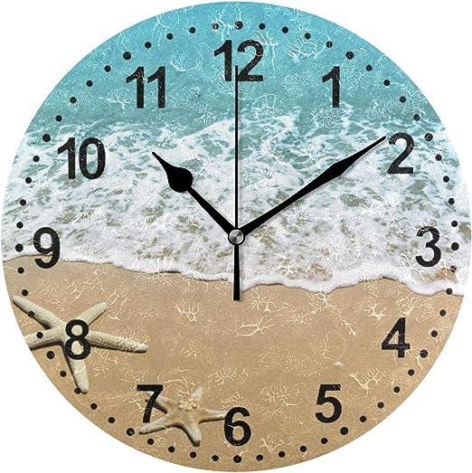 Amazon Com Bathroom Clock Seashell Decorative Wall Clock Non