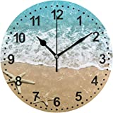 Bathroom Clock Seashell Decorative Wall Clock Non-Ticking Silent Clocks for Living Room Decor