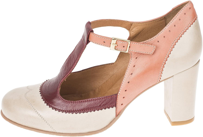 La Veintinueve Damen Pumps ADA Retro T-Strap Riemchen Schuhe Geschlossen Weißrot Beige / Koralle / Weißrot Geschlossen 68785c