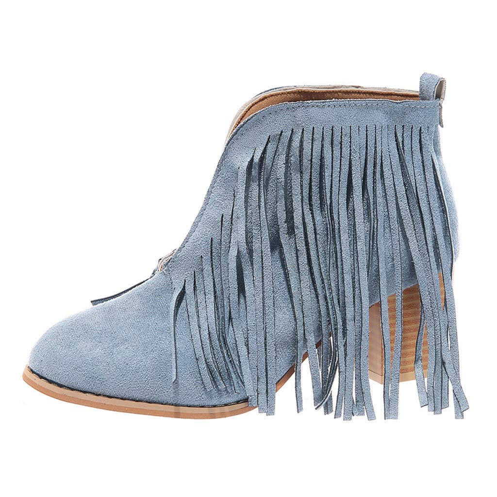 Kauneus Women's Western Fringe Chunky Stacked Heel Ankle Bootie Round Toe Block Heel Suede Retro Booties Blue by Kauneus Fashion Shoes
