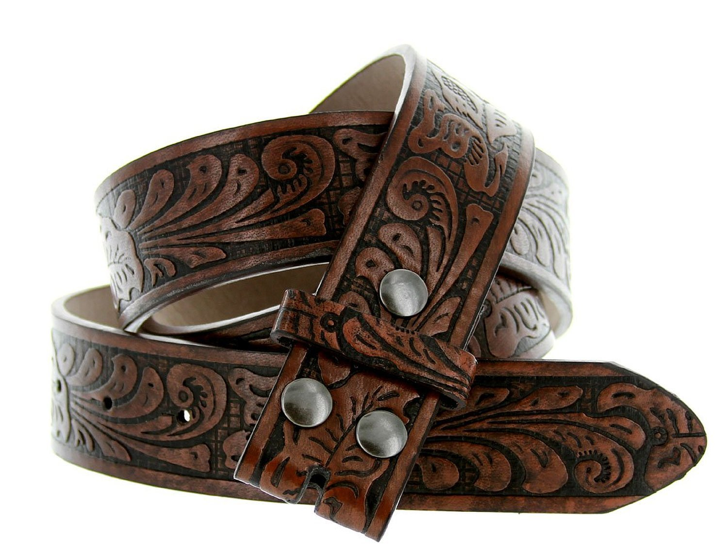 Western Embossed Tooled Floral Leather Snap On Belt Strap 38mm 1-1/2″ (S (32″), Brown)