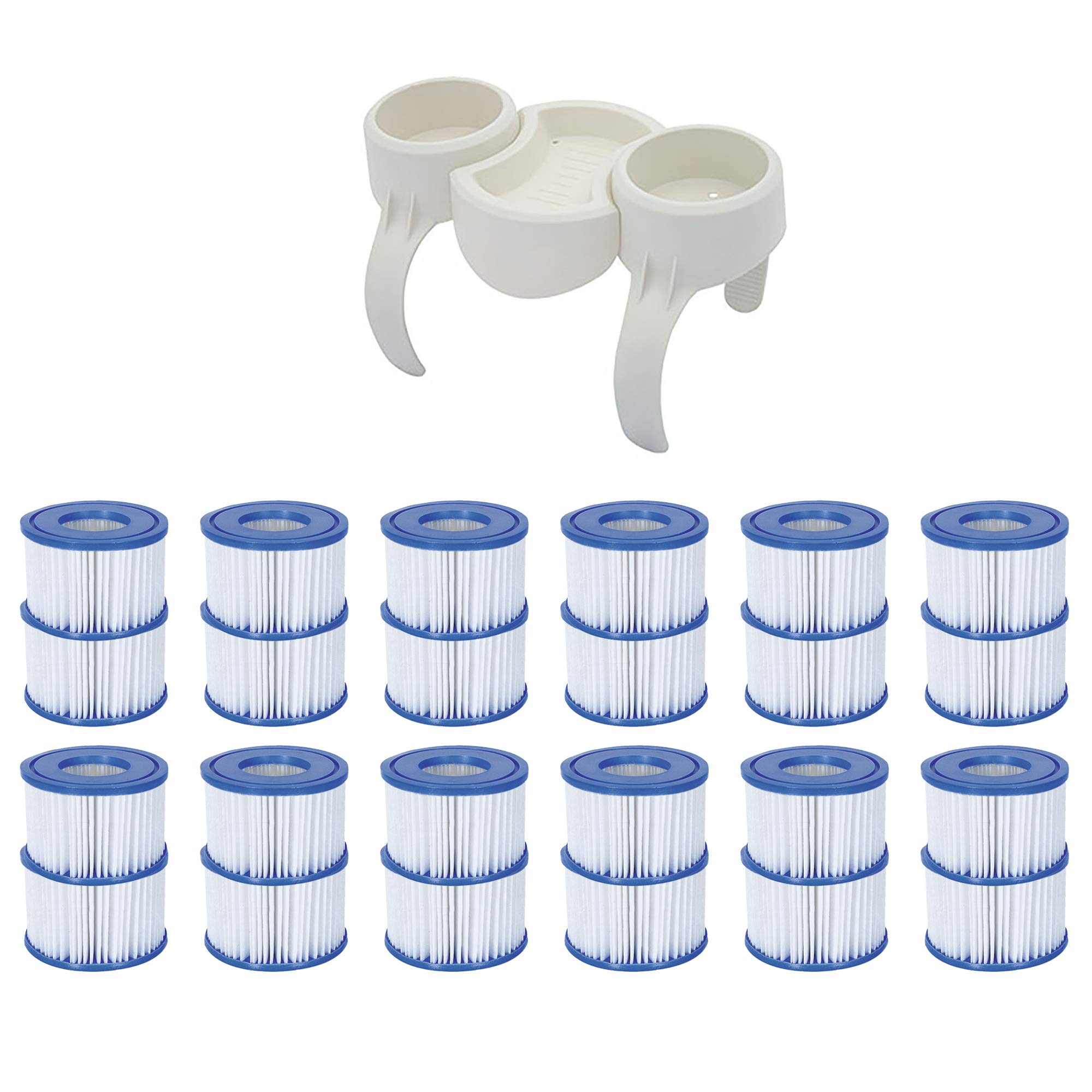 Bestway Plastic SaluSpa Drinks Holder and Snack Tray & Type VI Filters (24 Pack) by Bestway