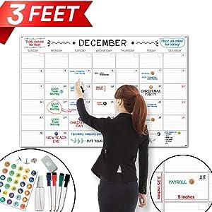 "X Large Dry Erase Wall Calendar - 24""x 36"" Premium Giant Oversized Undated Erasable Deadline Task Calendar for 2020 - Jumbo Monthly Task Organizer Planner for Home, Business & Dorm Room"