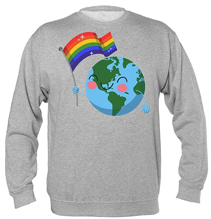 World Pride Happy Globe Waving Gay Flag Sudadera Unisex Sweatshirt: Amazon.es: Ropa y accesorios