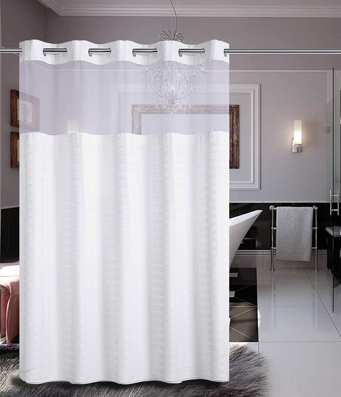 BATHROOM LONG PLAIN FABRIC SHOWER CURTAIN WATERPROOF WITH 12 HOOKS RING SET