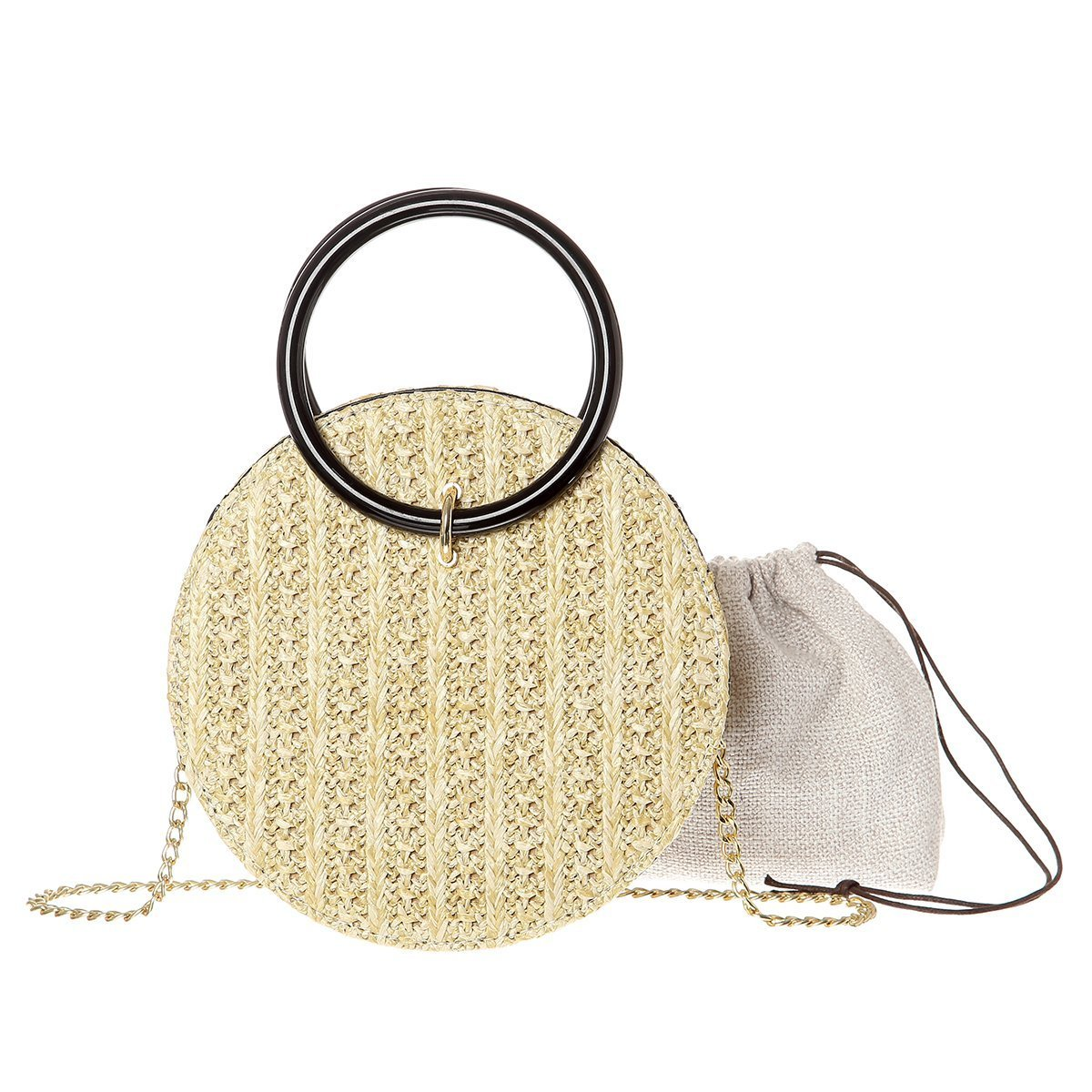 Women Handwoven Round Straw Bag Shoulder Leather Strap With Round Handy Carry (Yellow)