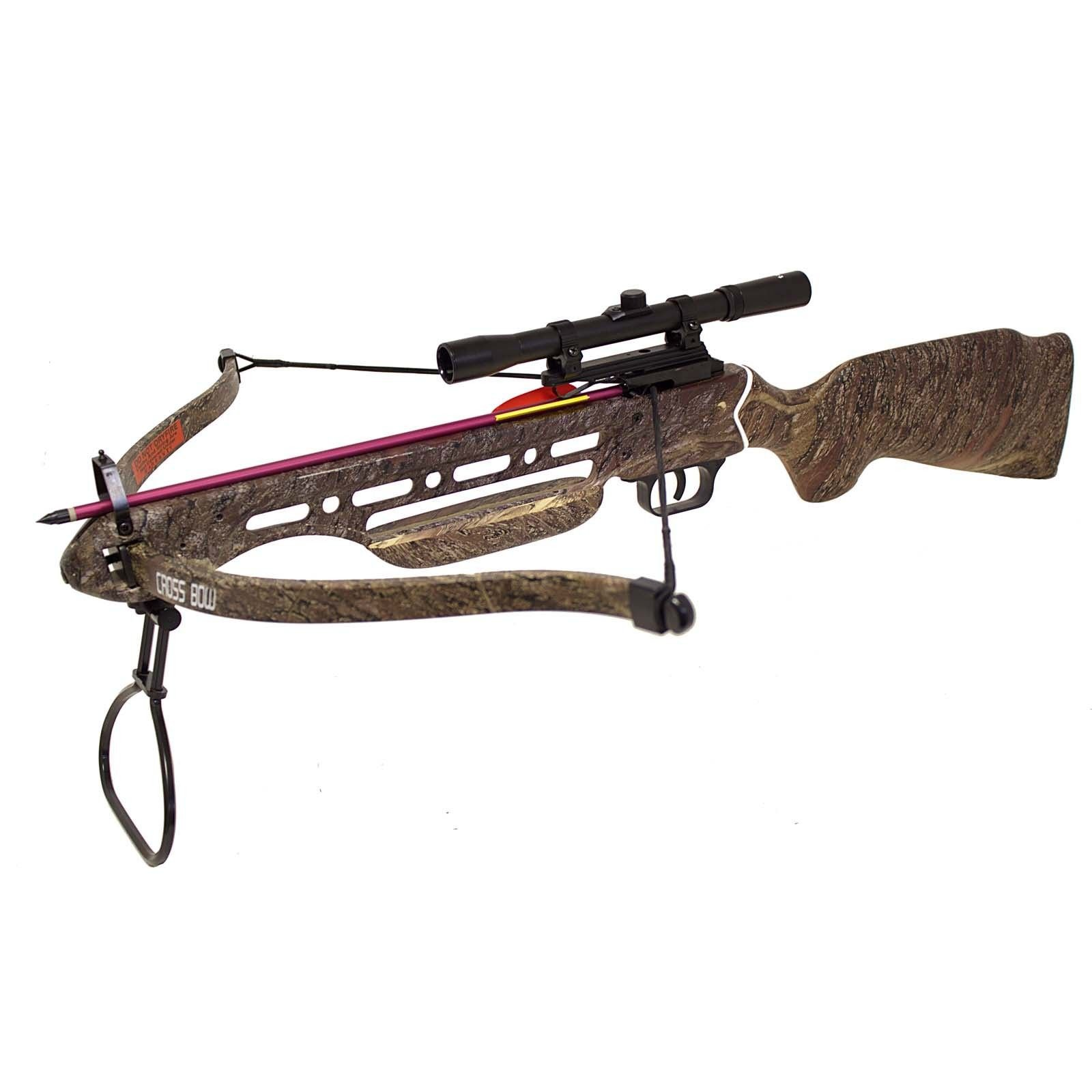 Hunting Crossbows 150 lbs Real Wooden Camo Hunting Crossbow + 8 Arrows Bolts + 4x20 Scope Crossbow Bolts