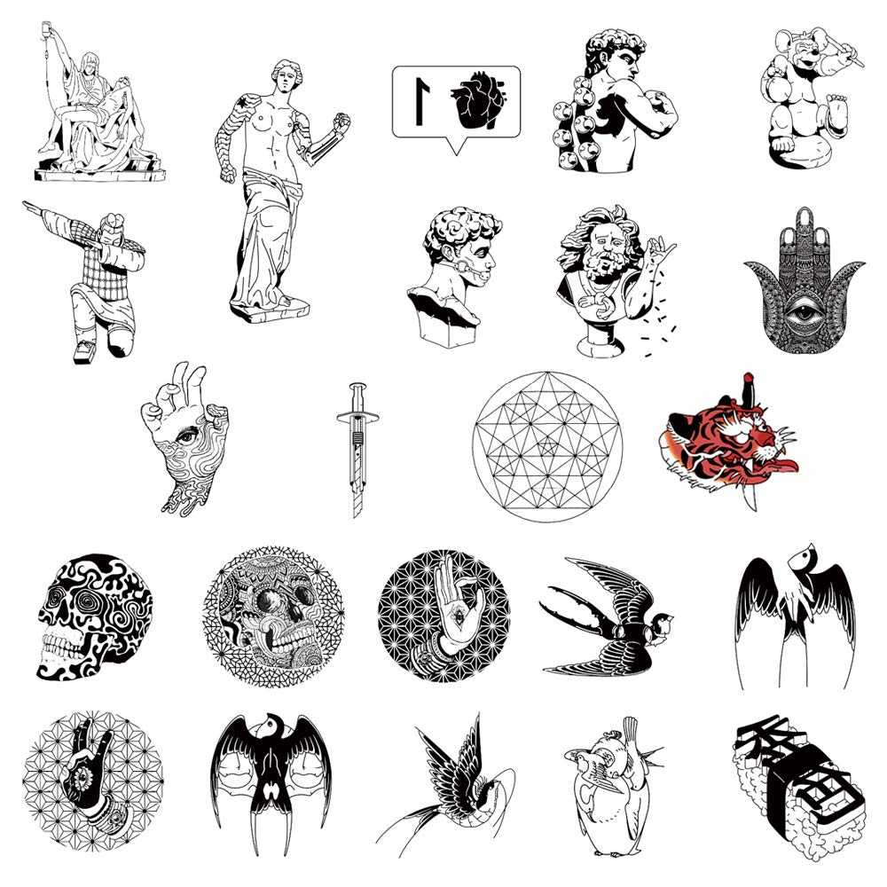 23 Creative Design Temporary Tattoos by Inktells 2020 new,Waterproof Removable fake tattoos for Women Men Adult Kids Boys Girls,Neck Back Arm Hand Stickers about Amimal Statue Swallow(4 sheets)
