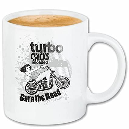 "taza para café ""POLLUELOS TURBO BURN THE ROAD Motociclista CAMISA motocicleta del interruptor del"
