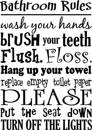 Bathroom Rules Wash Your Hands Brush Your Teeth Cute Wall Vinyl