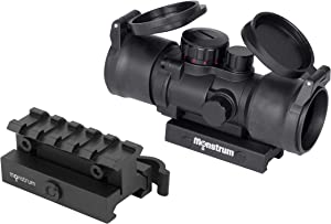 Monstrum S330P 3X Prism Scope   RM5-AH Adjustable Height Riser Mount with Quick Release   Monstrum Flip Up Lens Cover Set   Bundle