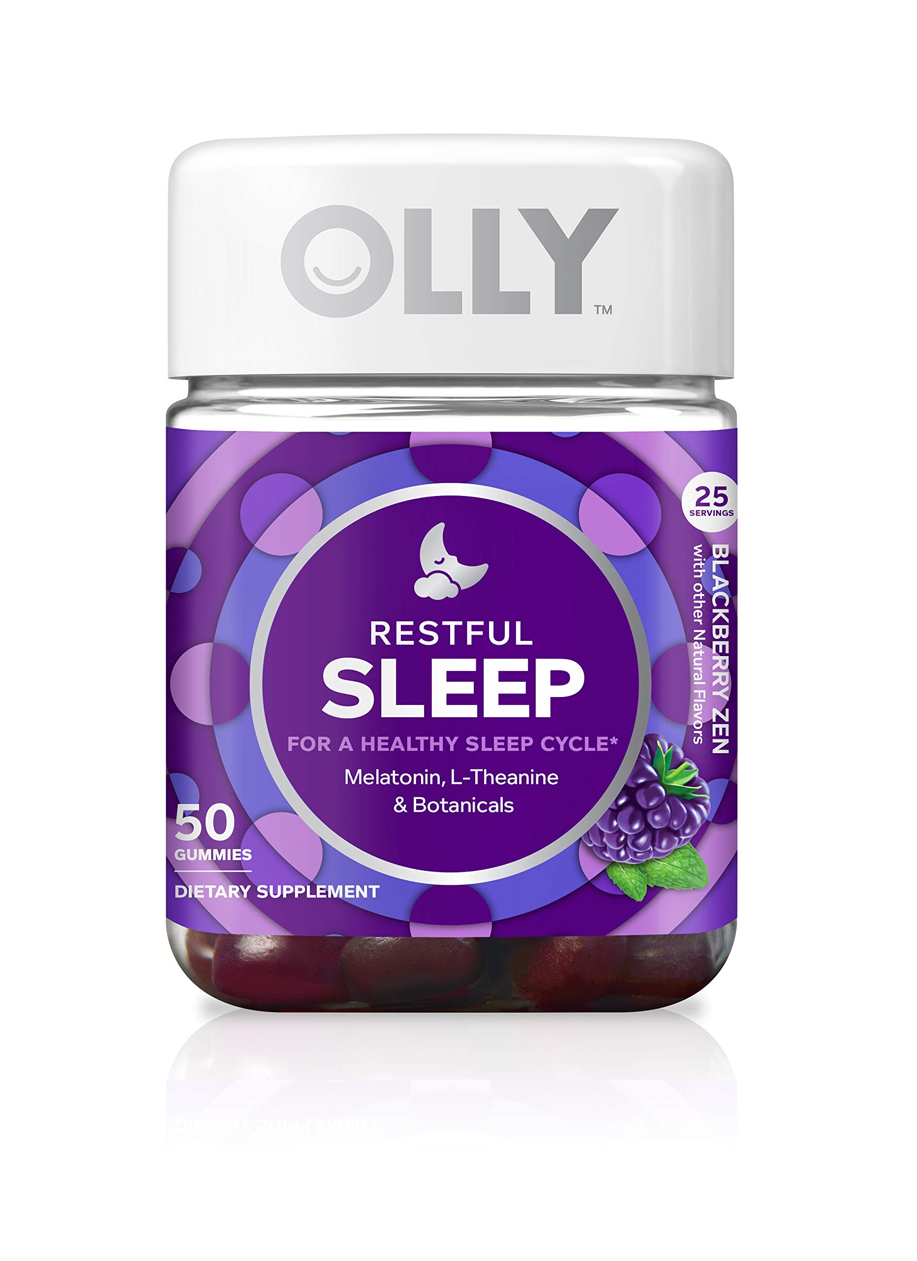 OLLY Restful Sleep Gummy Supplement with Melatonin & L-Theanine Chamomile, Blackberry Zen,