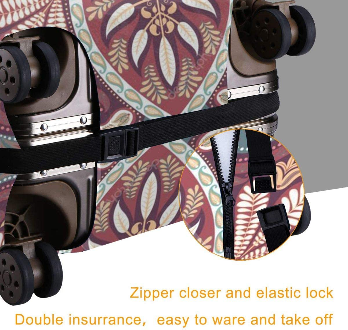 India Paisley Pattern Elastic Travel Luggage Cover,Double Print Fashion Washable Suitcase Protective Cover Fits 18-32inch Luggage