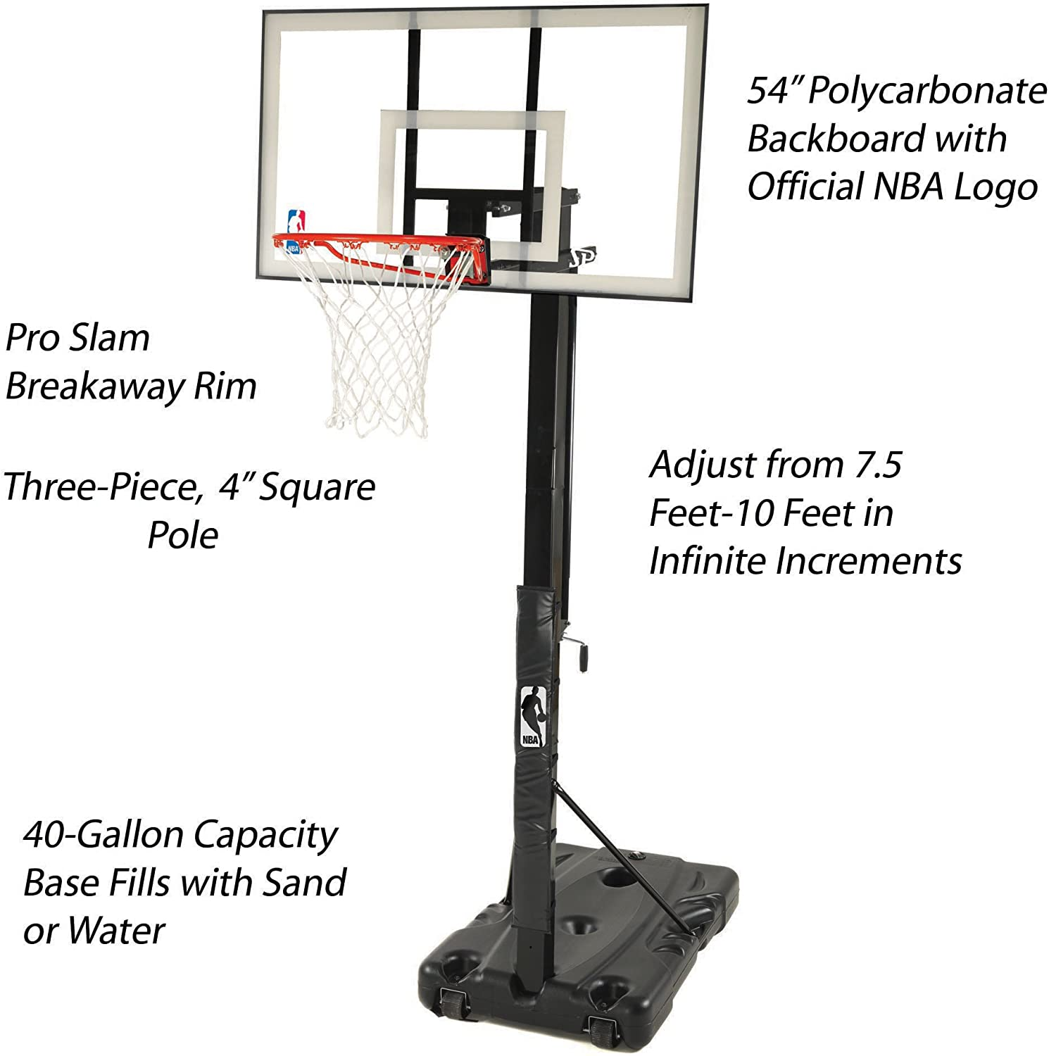 Amazon Com Spalding 68395w Nba Portable Basketball Hoop With 54 Inch Polycarbonate Backboard Portable Basketball Backboards Sports Outdoors