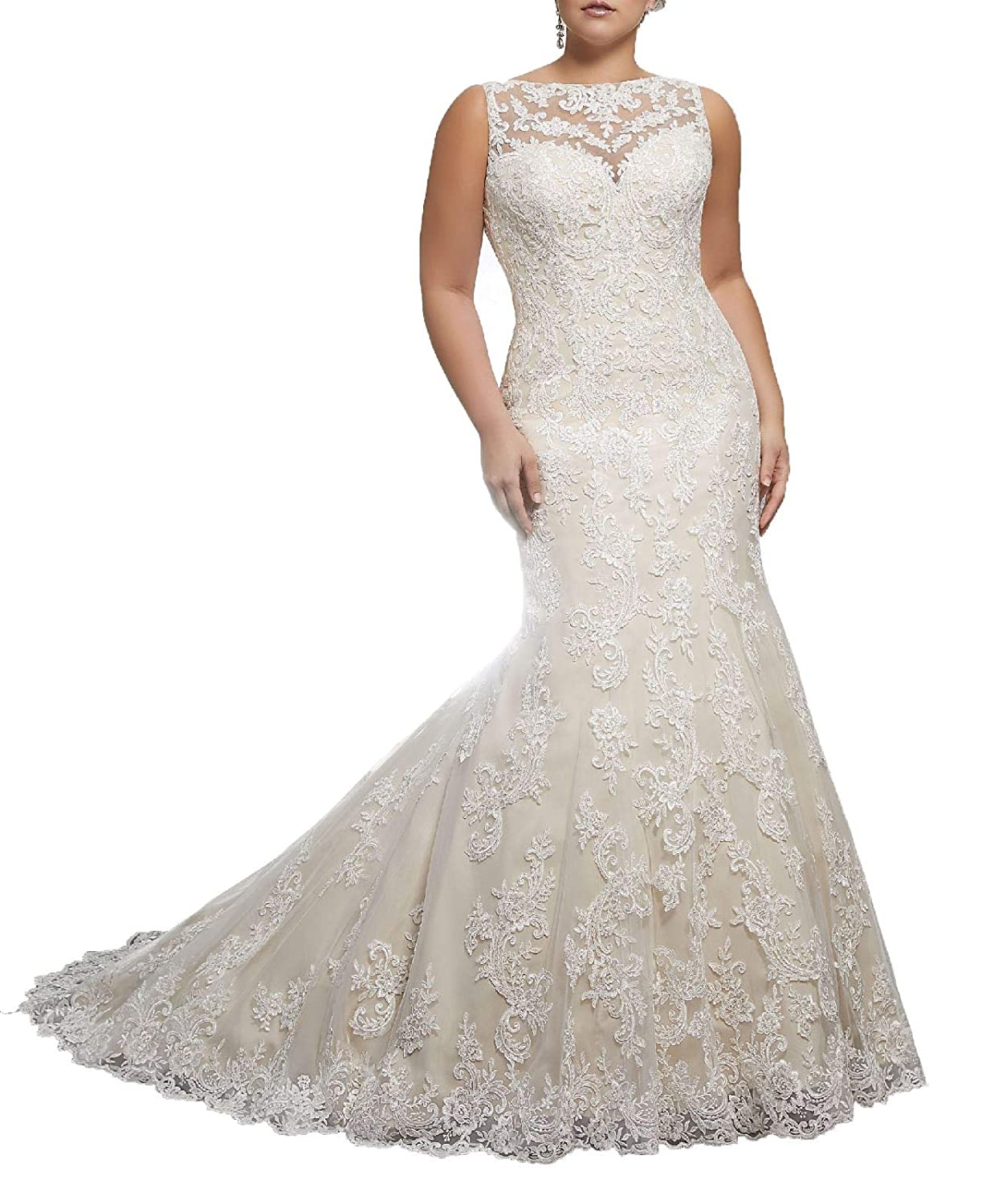 Womens Long Tail Lace Plus Size Wedding Dresses Over Size White