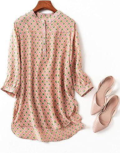 Romanly 2020 - Camisa de seda natural para mujer (manga de tres cuartos) Como se muestra en la imagen. 60: Amazon.es: Ropa y accesorios