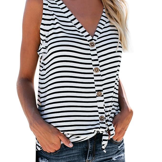 a41751f50edc DEELIN Damen Streifen T-Shirt mit Kapuze ärmellosen Elegant Casual Tops  Bluse