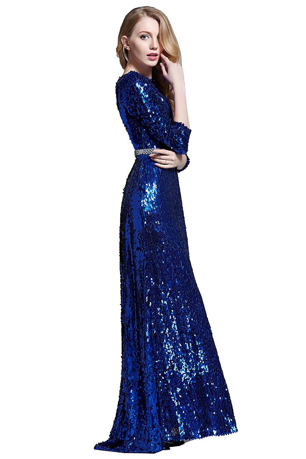 Amazon.com: Sexy Open back blue sequin evening party prom Maxi Women Dress 10: Clothing