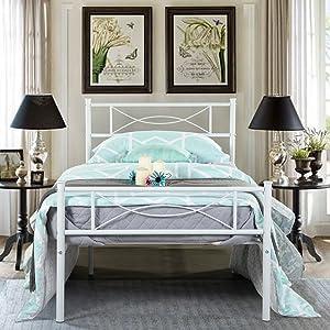 Simlife Metal Platform Bed Metal Big Girl Kids Adults Princess Bed Frame Mattress Foundation White