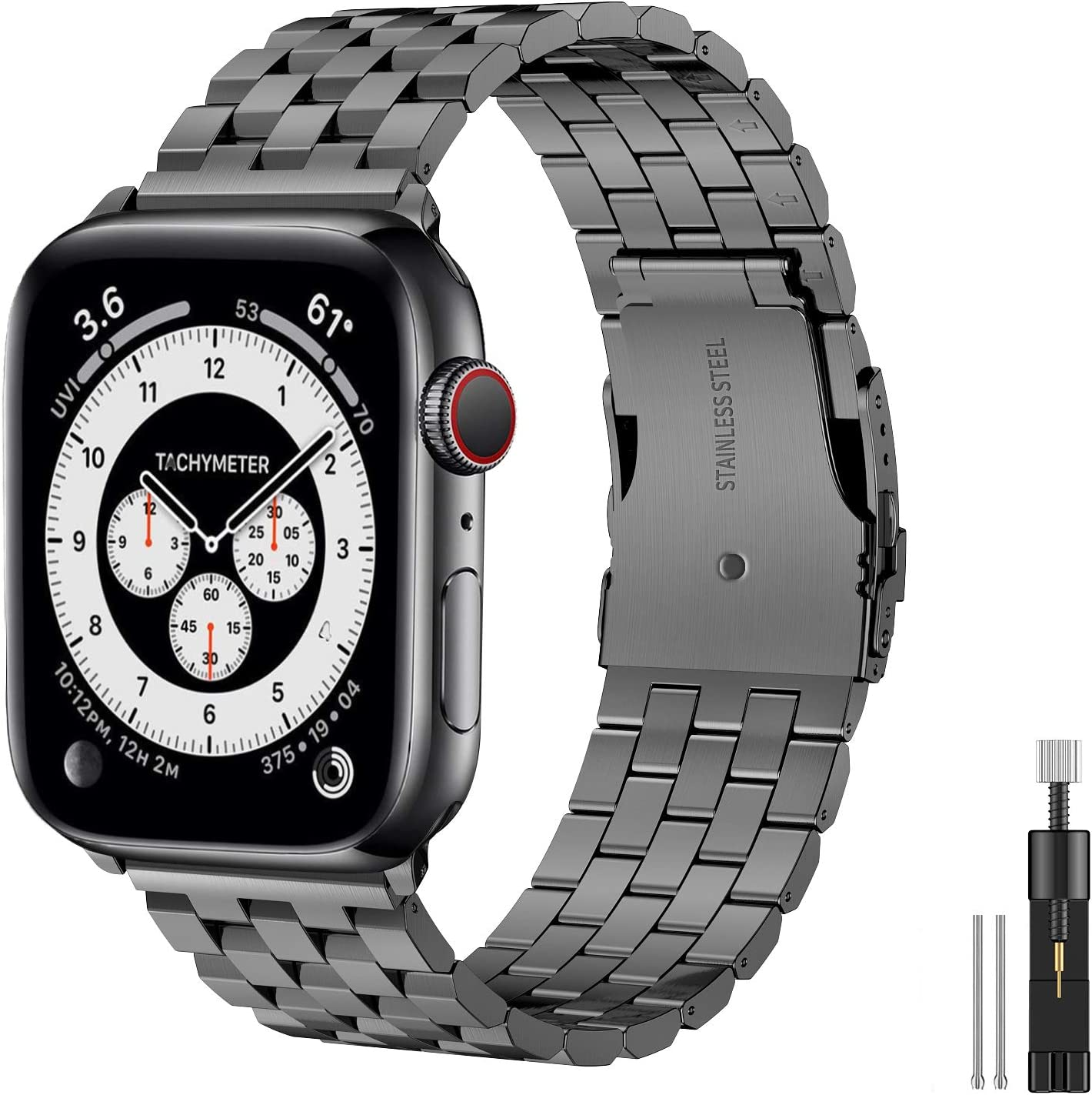 Hallsen Compatible with Apple Watch Bands 40mm 38mm, Upgraded Solid Stainless Steel Metal Apple Watch Band iWatch Replacement Strap for Apple Watch Series 6/5/4/3/2/1/SE (Space Gray, 38/40mm)