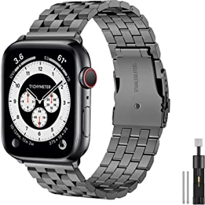 Hallsen Compatible with Apple Watch Bands 44mm 42mm, Upgraded Solid Stainless Steel Metal Apple Watch Band iWatch Replacement Strap for Apple Watch Series 6/5/4/3/2/1/SE (Space Gray, 42/44mm)