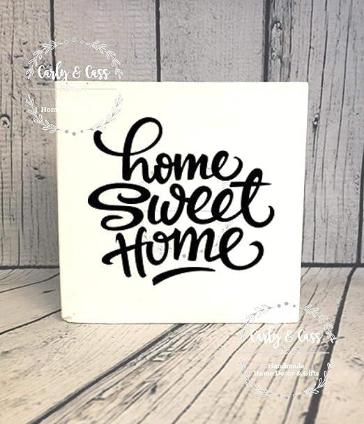 JeremyHar75 Home Sweet Home Cartel de Madera de Bloque de ...