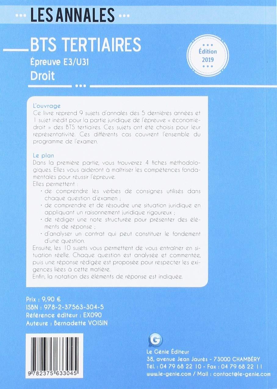 Droit E3-U31 Partie juridique BTS Tertiaires : 10 sujets officiels et leurs corrigés commentés Les annales: Amazon.es: Bernadette Voisin: Libros en idiomas ...