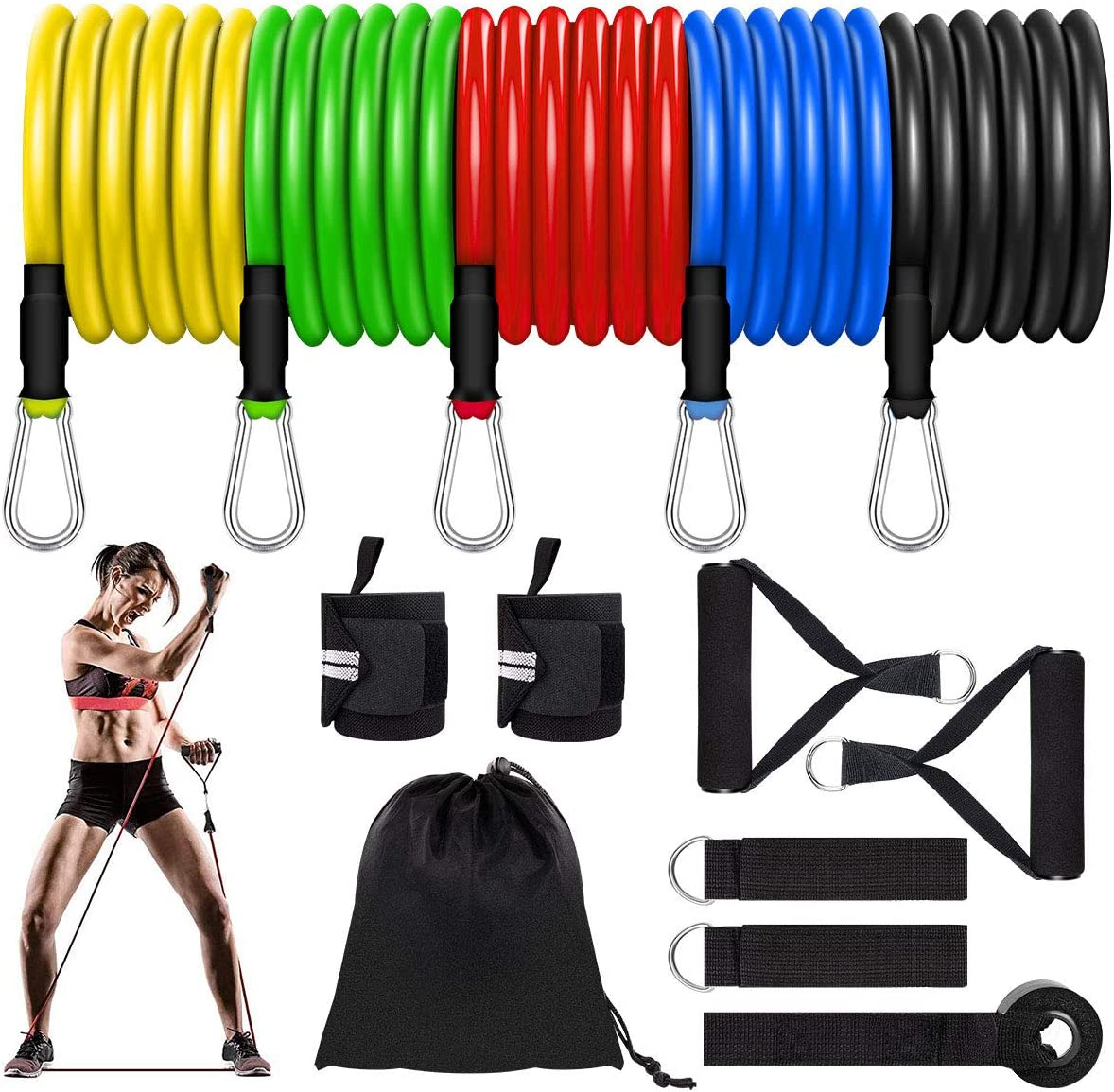 Lacoco Resistance Bands Set, 5 Level Exercise Bands Durable Home Gym Fitness Strength Bands Versatile Workout Bands with Door Anchor, Handles, Ankle Straps for Physical Therapy, Workouts, Exercise