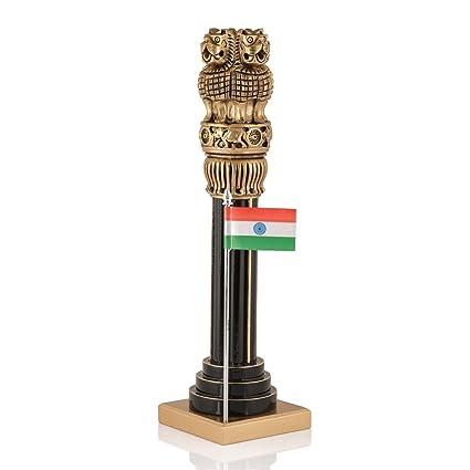 Collectible India Large Wooden Ashoka Pillar Ashoka Stambh Indian National  Emblem Symbol Ashok Chakra Idol Gift (12 5 inches)