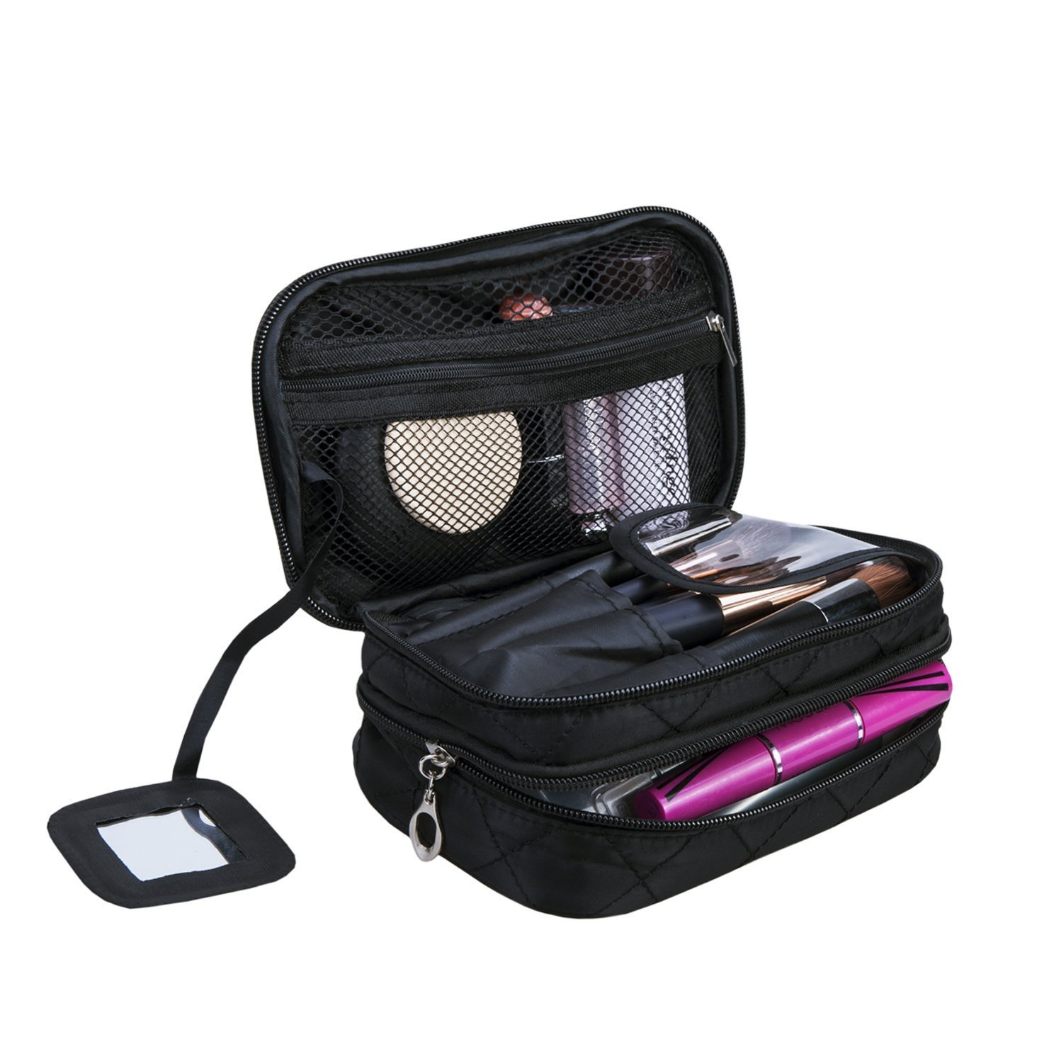 AcmeSoy Portable Makeup Bag Multifunctional 2-Layer Cosmetic Storage Bag Professional Cosmetic Organizer for Travel Home,black