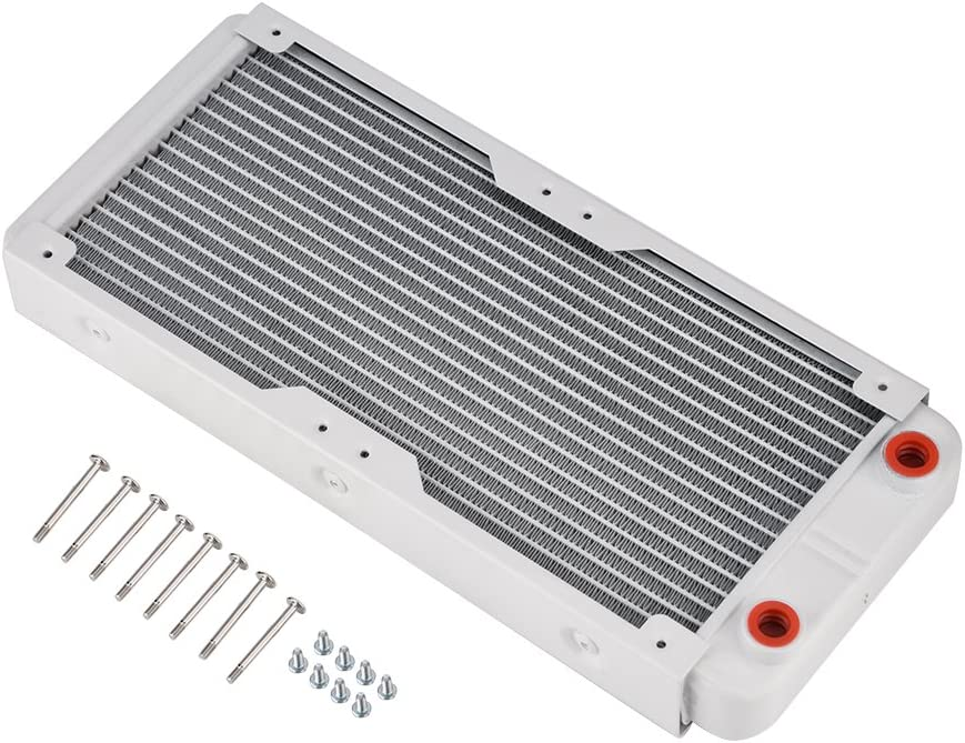 Richer-R Aluminum Radiator,White Heatsink Cooler Cooling Kit,Heat Sink Computer Water Cooling Liquid Heat Exchanger(240mm)