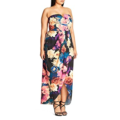 4a85b1a66f4 City Chic Womens Plus Secret Garden Floral Print Strapless Maxi Dress at  Amazon Women s Clothing store