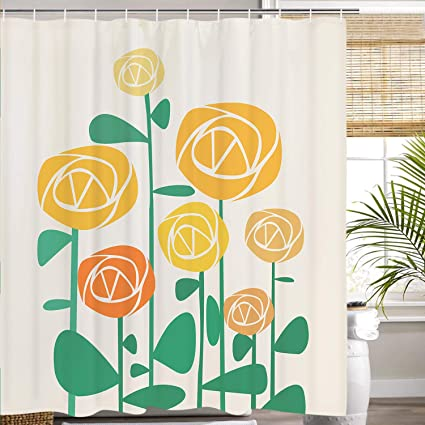 Image Unavailable Not Available For Color Smurfs Yingda Cartoon Flowers Shower Curtain Orange