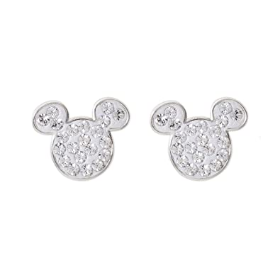 ba97cb231 Disney Mickey Mouse Sterling Silver Crystal April Birthstone Stud Earrings  Mickey's 90th Birthday Anniversary